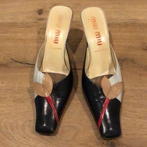 Miu Miu Leather Slides Heels Size 40.5